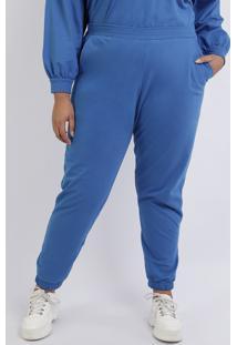 Calça De Moletom Feminina Mindset Plus Size Jogger Cintura Alta Com Bolsos Azul