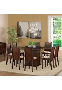 Conjunto De Mesa Com 8 Cadeiras Camila Tabaco E Floral Hibiscos