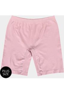 Shorts Modelador Lupo Sem Costura Plus Size - Feminino-Rosa Claro