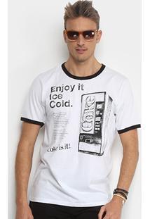 Camiseta Coca-Cola Estampada Masculina - Masculino-Branco