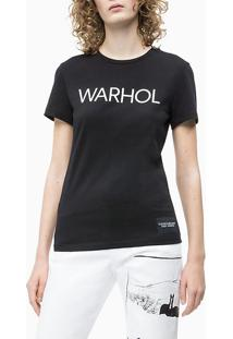 Blusa Ckj Fem Mc Andy Warhol Logo - Preto - Pp