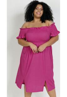 Vestido Curto Pink Com Frufru E Fendas Plus Size