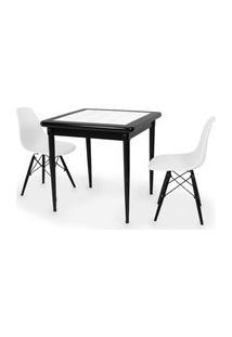 Conjunto Mesa De Jantar Em Madeira Preto Prime Com Azulejo + 2 Cadeiras Eames Eiffel - Branco