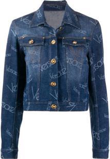 Versace Jaqueta Jeans Com Padronagem De Logo - Azul