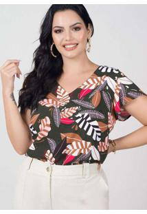 Blusa Estampada Almaria Plus Size New Umbi Vazado