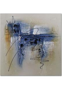 Quadro Artesanal Com Textura Abstrato Azul 30X30 Uniart
