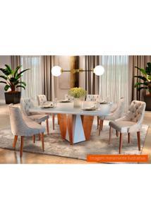 Conjunto De Mesa De Jantar Belíssima Com 8 Cadeiras Suede Off White