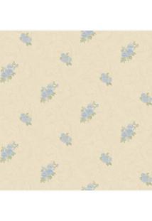 Papel De Parede Flores & Arabescos- Bege Claro & Azul