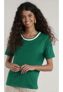 Blusa Feminina Manga Curta Decote Redondo Verde