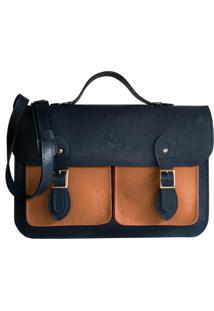 Bolsa Line Store Leather Satchel Pockets Grande Couro Bicolor Marinho X Caramelo - Kanui