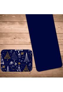 Jogo Americano Com Caminho De Mesa Pinheiros Geométricos Kit Com 2 Pçs + 2 Trilhos