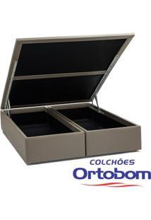 Box Queen Com Baú - Bi-Partido - Corino Crema - Ortobom