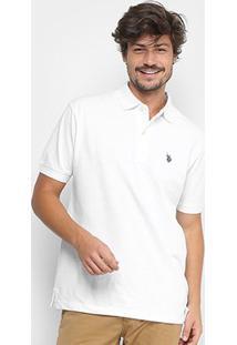 Camisa Polo U.S. Polo Assn Lisa Bordado Masculina - Masculino-Branco