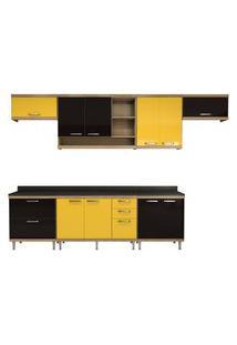 Cozinha Compacta Sicília 8 Peças Argila Amarelo E Preto Multimóveis
