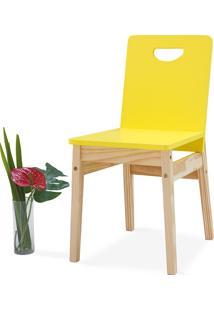 Cadeira Para Mesa De Jantar Tucupi 40X51X81Cm - Acabamento Stain Natural E Laca Amarelo
