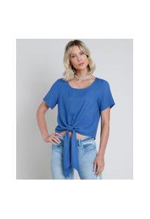Blusa Feminina Cropped Com Nó Manga Curta Decote Redondo Azul