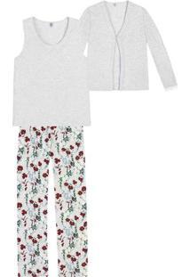 Pijama Feminino Em Malha De Viscose Com Três Peças