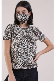 Kit De Blusa Feminina Estampada Oncinha Manga Curta Decote Redondo + Máscara De Proteção Individual Off White