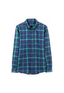 Camisa Masculina Xadrez Berwick - Azul Claro E Verde