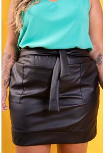 Saia Couro Classic Black Plus Size Domenica Solazzo