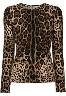 Dolce & Gabbana Blusa Slim Com Animal Print - Marrom