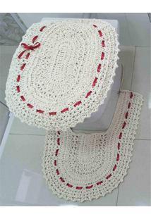 9c70d15ec3 ... Jogo De Banheiro Crochê Fitado Vermelho Com 3 Peças - Enxovais Ibitinga