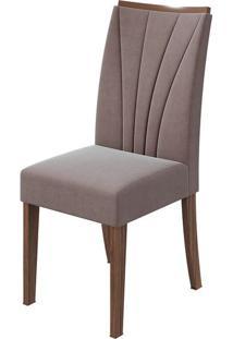 Cadeira Apogeu Velvet Rosê Imbuia Naturale
