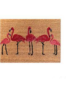 Capacho Flamingo 60X45Cm Fibra Natural Bege E Rosa Coisas E Coisinhas