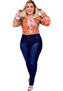 Calça Jeans Feminina Plus Size Skinny Cintura Alta Amaciada Com Used