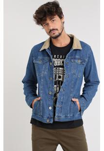 Jaqueta Jeans Masculina Com Veludo Cotelê Azul Médio