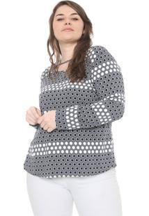 Blusa Cativa Plus Geométrica Cinza/Off-White