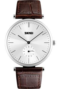 Relógio Skmei Analógico 1175 Marrom E Prata