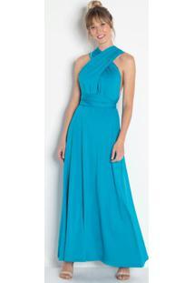 Vestido Longo Com Amarração Azul
