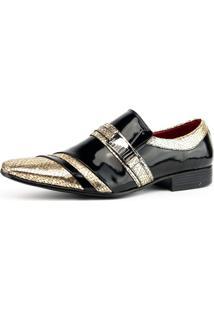 Sapato Social Gofer 7005 Preto E Dourado