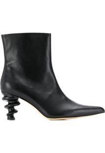 Kalda Ankle Boot Com Salto Estruturado - Preto