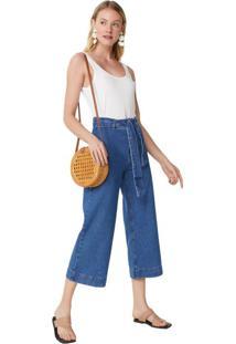 Calça Jeans Wide Com Amarração