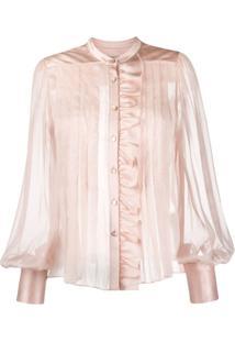 Temperley London Blusa Translúcida Com Pregas - Rosa