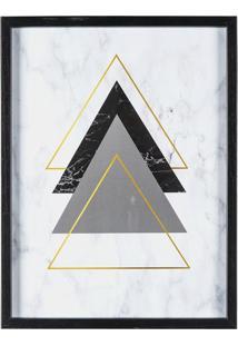 Quadro Decorativo Geométrico- Branco & Preto- 40X30Xart Frame