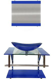 Gabinete De Vidro Para Banheiro Irlanda Azul Escuro Ekasa