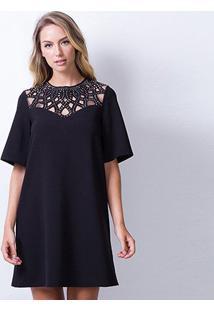 Vestido Lança Perfume Curto Descolado - Feminino-Preto