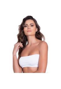 Top Faixa Cropped Golden Modas Sem Bojo Cotton Básico Tomara Que Caia Sutiã Branco