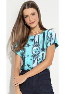Blusa Soltinha Lenço Azul Mangas Curtas