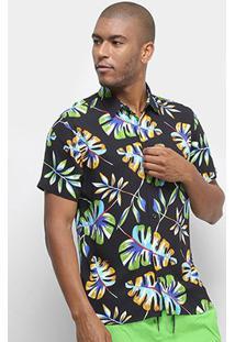 Camisa Colcci Estampada Relax Masculina - Masculino-Preto