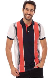 Camisa Polo Aleatory Listrada Fast Masculina - Masculino-Laranja