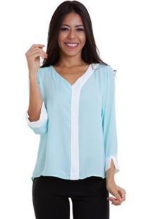 Blusa Chiffon Bicolor - Feminino-Azul