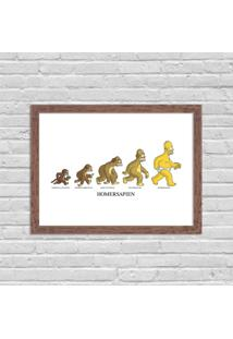Quadro Decorativo Evolução Homem Simpson Madeira - Médio