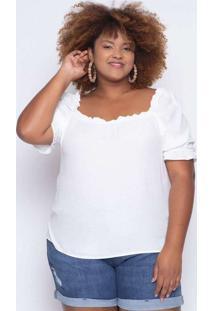 Blusa Almaria Plus Size Enois Lisa Branco