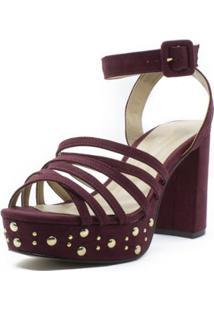 Sandália Meia Pata Shoes Inbox Com Tachas Salto Bloco Feminina - Feminino-Vinho