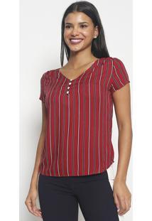 Blusa Listrada Com Botões- Rosa Escuro Preta- Vip Vip Reserva