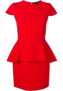 Alice+Olivia Peplum Fitted Dress - Vermelho